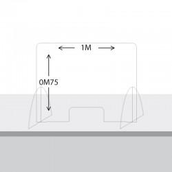 Paroi de protection Plexiglas 75cm x 1M