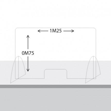 Paroi de protection Plexiglas 75cm x 1M25