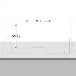 Paroi de protection Plexiglas 75cm x 1M50