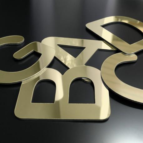 Lettres Alu miroir or brutes
