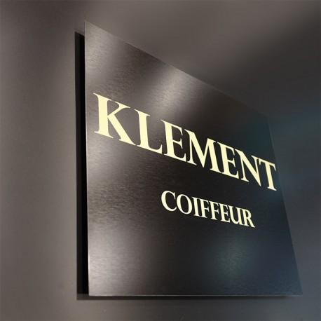 Plaque Alu brossé noir Klement Coiffure