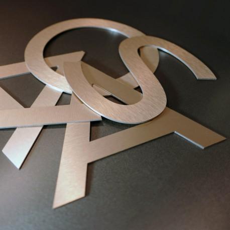 Lettres alu brossé cuivre brutes